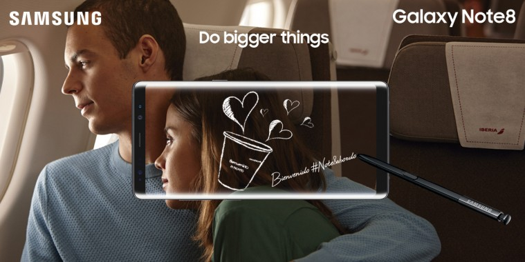 Samsung Galaxy Note 8 a bordo de Iberia